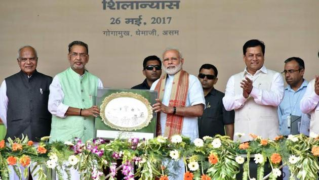 PM Narendra Modi at the ceremony to lay the Foundation Stone for Indian Agriculture Research Institute (IARI) at Gogamukh, Assam(PIB India)