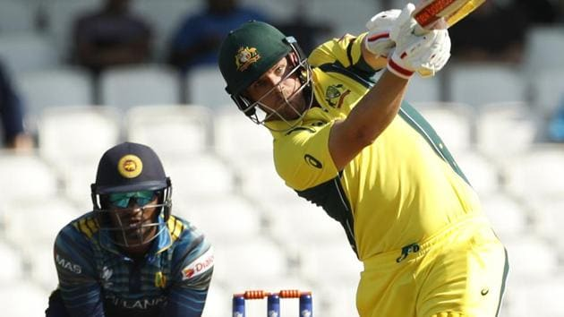 <p>Australia's Aaron Finch scores his century off a delivery from Sri Lanka's Asela Gunaratne.</p> (REUTERS)