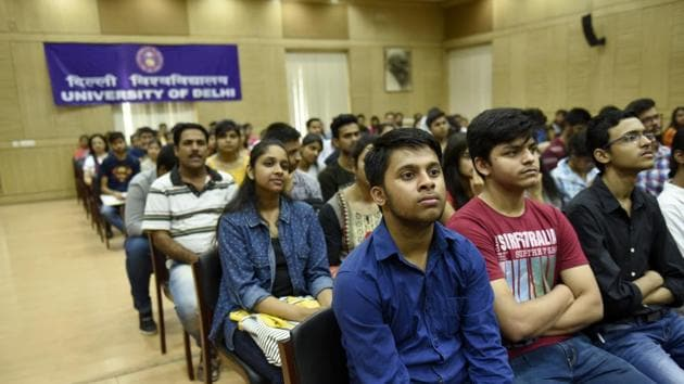 Delhi University has commenced its open house sessions as it prepares for the admission process ahead of a new academic year in New Delhi.(Saumya Khandelwal/HT PHOTO)