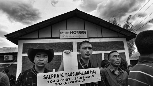 Manipur, India - May 24, 2017: After 632 days eight of the nine Tribal's, who were killed on August 31,2015 in Manipur's Churachandpur Town, were buried after an agreement between hill tribes and the Manipur Government. The bodies which were kept in the town's morgue for almost 2 years were finally laid to rest after a mourning ceremony at Churachandpur in Manipur , India, on Wednesday, May 24, 2017. (Photo by Ravi Choudhary/ Hindustan Times)(Ravi Choudhary/HT PHOTO)