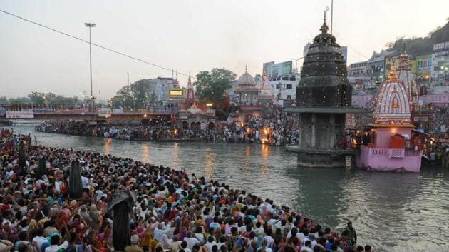 The UGC brings water from Haridwar and a temple complex was built around a decade ago in the canal area for devotees who take a dip and offer prayers, especially during the festival season.(HTPhoto)