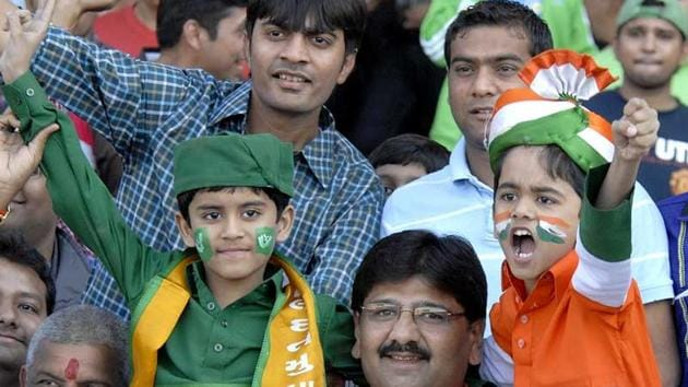 India and Pakistan fans at Sardar Patel Stadium in Ahmedabad during the second India vs Pakistan T20 cricket match in December 2012.(UNI)