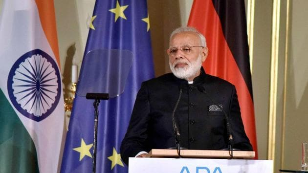 Prime Minister Narendra Modi addresses the Indo-German Business Summit in Berlin on Tuesday.(PTI/ PIB Photo)