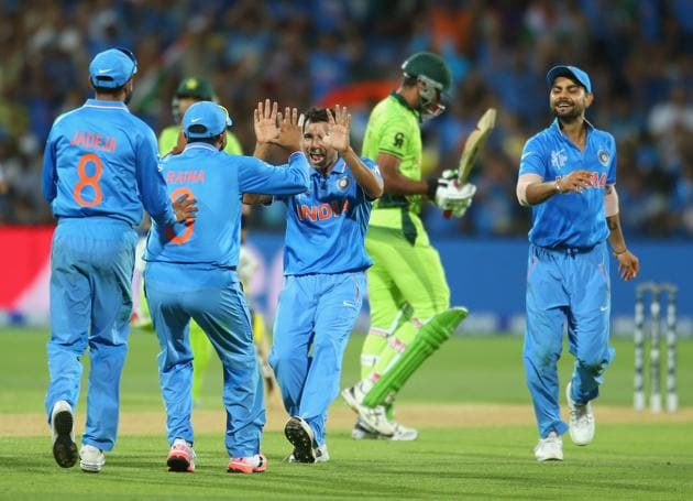 Mohammed Shami celebrates with his teammates after dismissing Wahab Riaz during the 2015 ICC Cricket World Cup match between India and Pakistan at Adelaide , 2015 . The fanaticism around India versus Pakistan encounters has always been positive.(Getty Images)