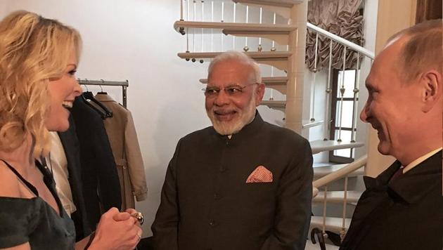 Journalist Megyn Kelly held an exclusive interview with Russian President Vladimir Putin and PM Modi ahead of the St. Petersburg International Economic Forum in Russia.(Twitter/ Megyn Kelly)