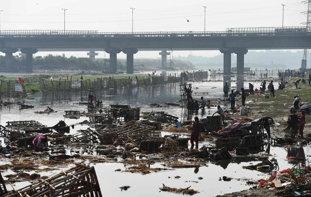 Delhi contributes nearly 70% of the Yamuna's pollution. A recent report published by the Central Pollution Control Board has found that total coliform (coming from human waste) at Okhla was in the range 230000 – 160000000 MPN / 100 litres (prescribed limit 500 MPN / 100 litres).(AFP)