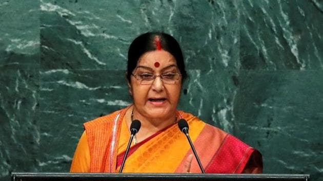 External affairs minister Sushma Swaraj addresses the United Nations General Assembly in the Manhattan borough of New York, US on September 26, 2016.(Reuters)