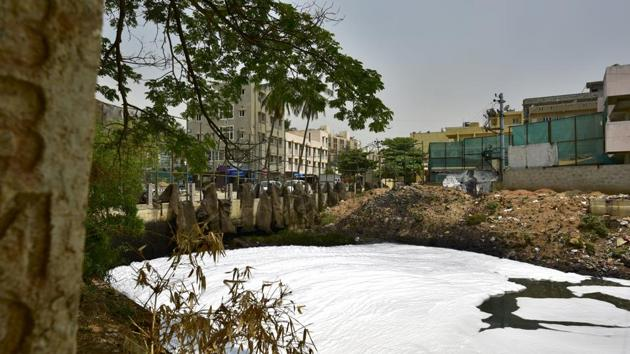 Bangalore's polluted Bellandur lake has been in news for its froth and frequent episodes of fire on the surface.(Arijit Sen/HT Photo)