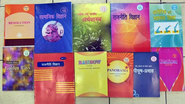 The Rajasthan board's new class X, XI and XII books. Education experts are calling the revisions in history as 'Hinduisation' of India's freedom struggle.(HT Photo)