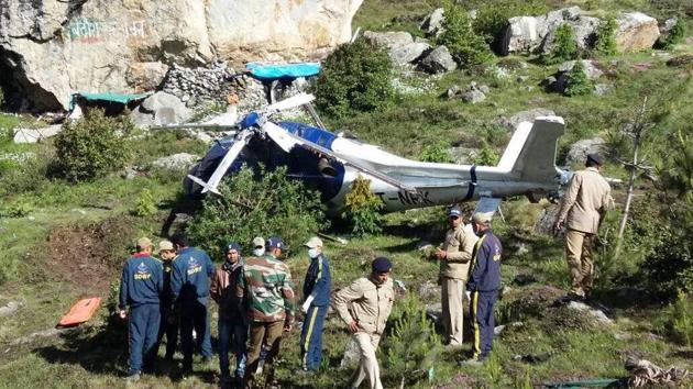 A chopper carrying five pilgrims from Gujarat crashed in Badrinath on Saturday.(HT Photo)