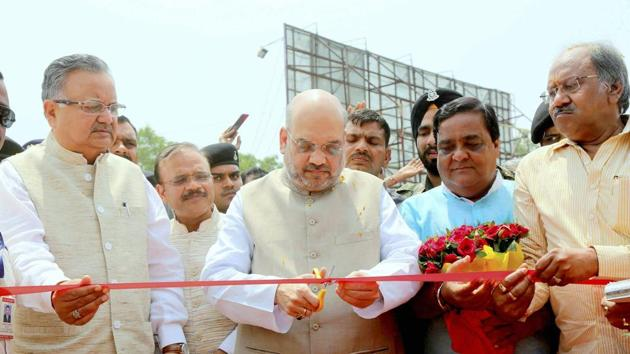 BJP president Amit Shah inaugurates a programme in Raipur on Friday, where he made the controversial comments.(PTI PHOTO)