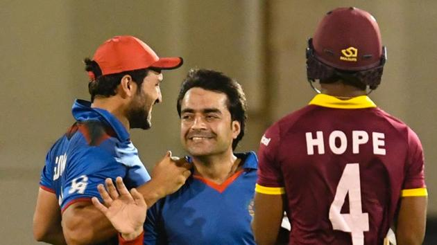 Rashid Khan picked up 7/18, the best haul by an Afghanistan bowler and the fourth-best in ODI history as West Indies suffered a 63-run loss in the first ODI in St.Lucia.(AFP)