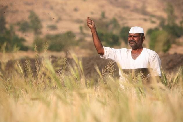Farmer Gulab Hande from Maval taluka in Pune district who will get a loan waiver of Rs 50,000.(Hemant Padalkar/HT Photo)