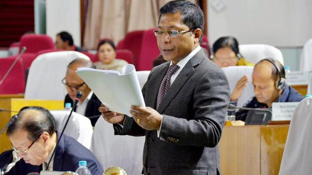 Meghalaya Chief Minister Mukul Sangma in the Assembly, in Shillong.(PTI)