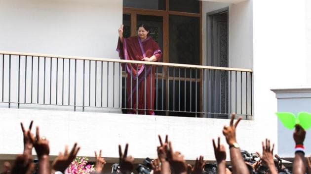 AIADMK leader J Jayalalithaa greets her supporters at her Poes Garden house in Chennai on 13 May, 2011.(T Narayan/HT File Photo)