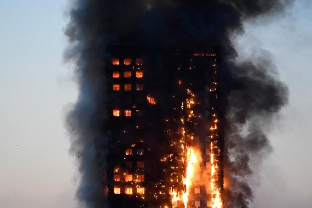 Fire in a tower block at Latimer Road in West London.(Reuters Photo)