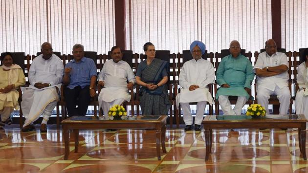 Congress president Sonia Gandhi chairs a meeting of the opposition leaders to discuss the strategy for the presidential election in New Delhi on Friday.(PTI File photo)