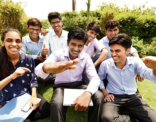The seven students, from humble backgrounds, cleared the entrance test for admission to top US universities.(Virendra Singh Gosain/HT PHOTO)