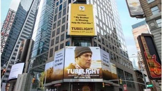 A poster of Salman Khan's Tubelight at Times Square.