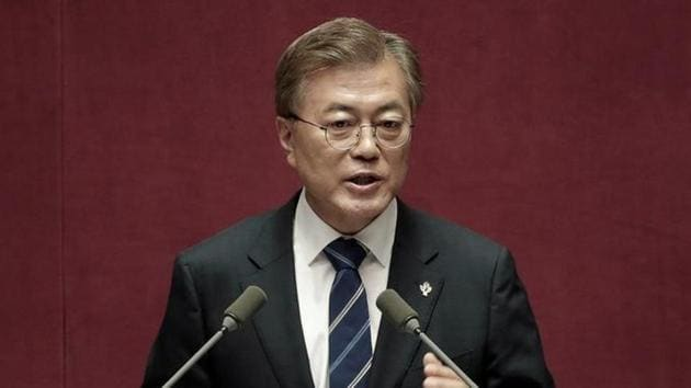 South Korean President Moon Jae-in delivers a speech at the National Assembly in Seoul, South Korea.(Reuters Photo)