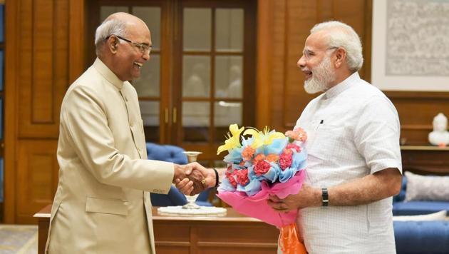 NDA presidential candidate Ram Nath Kovind meets Prime Minister Narendra Modi in New Delhi on Monday.(PIB photo)