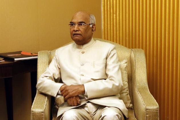 BJP's presidential nominee Ram Nath Kovind after his arrival at the airport in New Delhi on Monday.(AP)