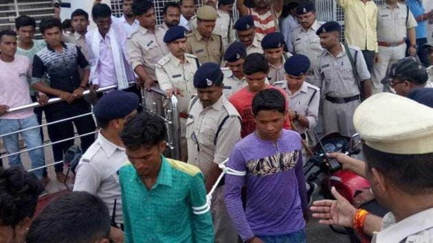The 15 youths who were charged with sedition in Madhya Pradesh's Burhanpur on Tuesday.(HT photo)