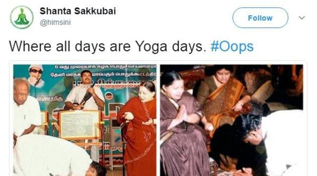 The sight of politicians stretching and arching themselves into different asanas has inspired a barrage of jokes. (Twitter/Screengrab)