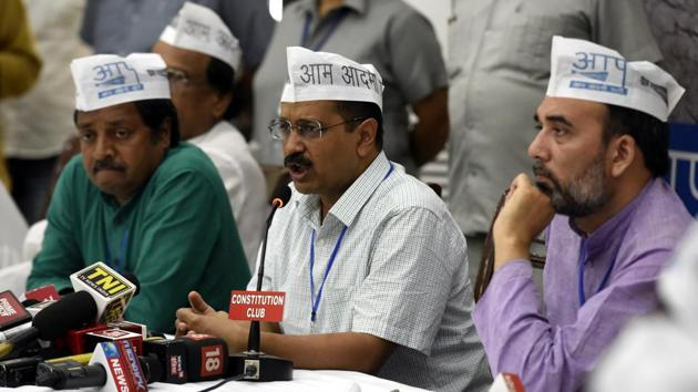 The Aam Aadmi Party (AAP) has rejected the Enforcement Directorate probe against four shell companies as 'another measure to harass the party and the Delhi government'.(Sonu Mehta/HT Photo)