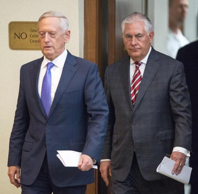 US secretary of defence Jim Mattis (left) is expected in New Delhi on September 25. His visit will be followed by that of secretary of state Rex Tillerson (right).(AFP file photo)