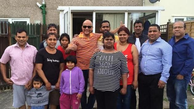 The family of Lington Monteiro (extreme left) with Goan friends Armando Gonsalves (in dark glasses), Jaime Barreto (extreme right) and others in Monteiro's house garden in Swindon, Britain. ((HT Photo)
