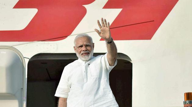 Prime Minister Narendra Modi leaves from New Delhi for his three-nation visit of Portugal, the US and the Netherlands on Saturday.(PTI)