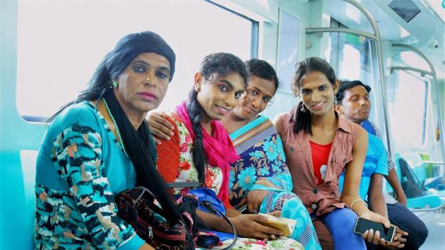 Transgender employees of the Kochi Metro during a training at Muttom depot, in Kochi.(PTI File Photo)