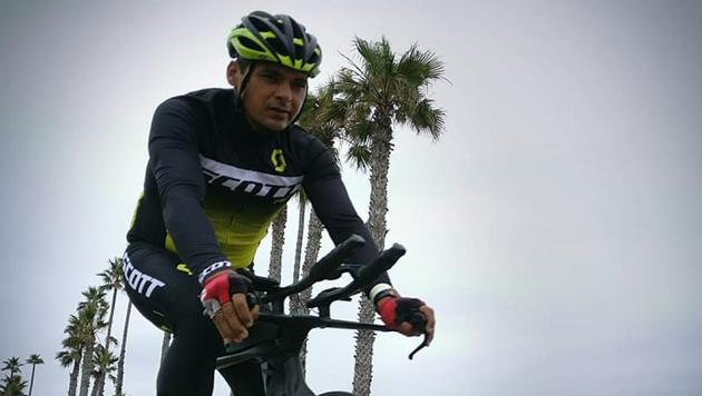 Amit Samarth took 11 days and 21 hours to finish the Race Across America (RAAM).(HT Photo)