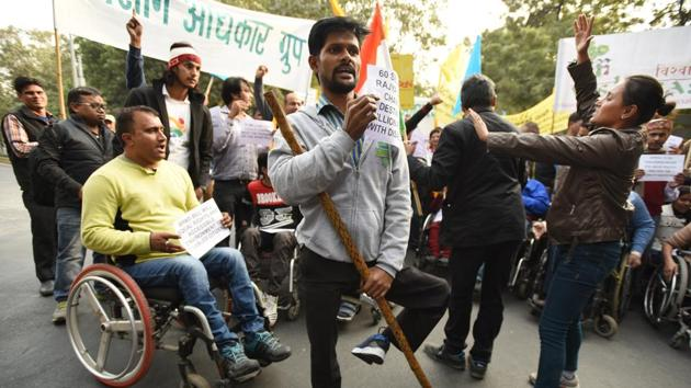 An income-tax paying disabled person could add substantially to India's GDP. Only by ensuring this, Prime Minister Narendra Modi can fulfil his 'Sabka Saath Sabka Vikas' dream.(HT)