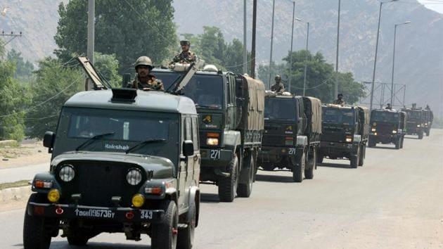 Army vehicles near Delhi Public School (DPS) during an encounter with the militants at Pantha Chowk in Srinagar.(PTI Photo)