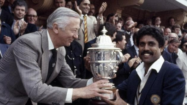 Kapil Dev helped India create history as they won the 1983 World Cup by defeating the two-time defending champions West Indies in the final.(Bob Thomas/Getty Images)