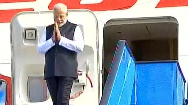 Prime Minister Narendra Modi arrives in Amsterdam on Tuesday.(ANI Twitter)