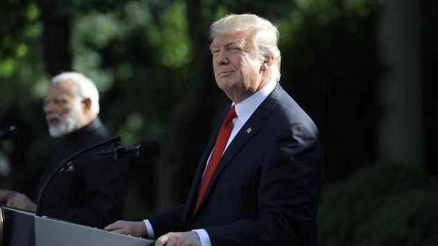 US President Donald Trump (R) holds a joint news conference with Indian Prime Minister Narendra Modi in the Rose Garden of the White House in Washington.(REUTERS)