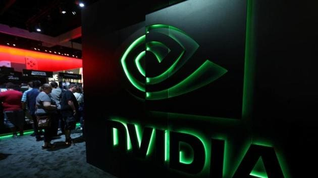 The Nvidia booth is shown at the E3 2017 Electronic Entertainment Expo in Los Angeles.