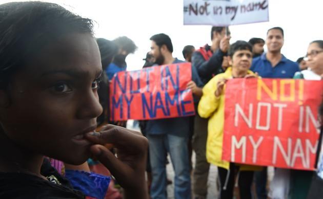 Protestors at a 'Not in my name' rally, Mumbai, June 28, 2017(AFP)