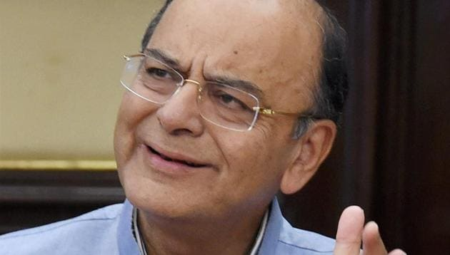 Union minister Arun Jaitley at a press conference in New Delhi on Thursday.(PTI)