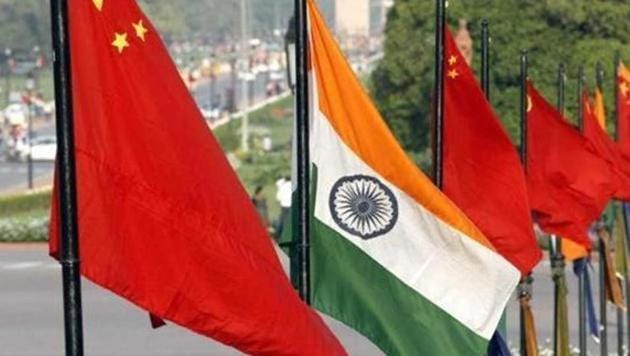 The national flags of India and China at Rajpath in New Delhi.(HT File Photo)