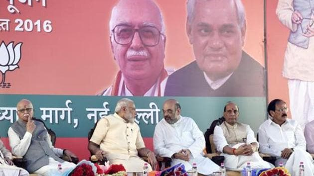 (L To R ) LK Advani,Prime Minister Narendra Modi, BJP president Amit Shah, Union ministers Rajnath Singh and M Venkaiah Naidu, New Delhi. When, in the 1990s, the BJP sought to expand its footprint in the south, it retained its religious majoritarianism while downplaying its Hindi chauvinism. The party now controls Parliament and controls many state governments as well. Why then have some BJP leaders chosen to revive the claim that Hindi is the glue that must bind the nation? (File Photo)(ARVIND YADAV/HT)