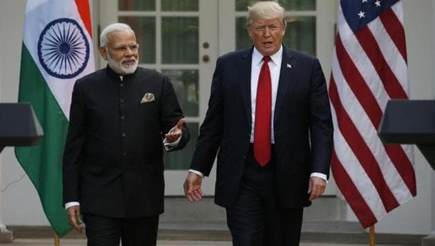 US President Donald Trump (right) arrives for a joint news conference with PM Modi at the Rose Garden of the White House in Washington.(Reuters File Photo)