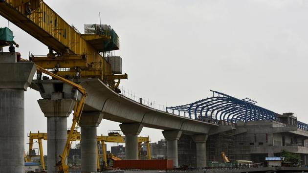 The under construction Metro station in Sector 71, Noida, on Tuesday(Virendra Singh Gosain/HT Photo)