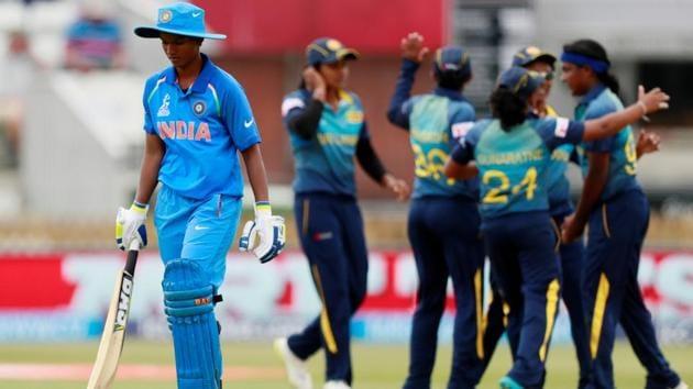 Deepti Sharma walks after being caught by Sri Lanka's Inoka Ranaweera from the bowling of Ama Kanchana. (Action Images via Reuters)