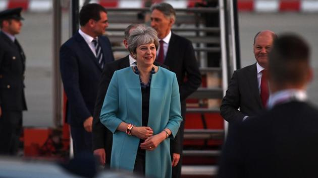 Great Britain´s Prime Minister Theresa May arrives for the Hamburg G20 summit where she is expected to raise the issue of curbing funding to terror outfits. (Patrik Stollarz / AFP)