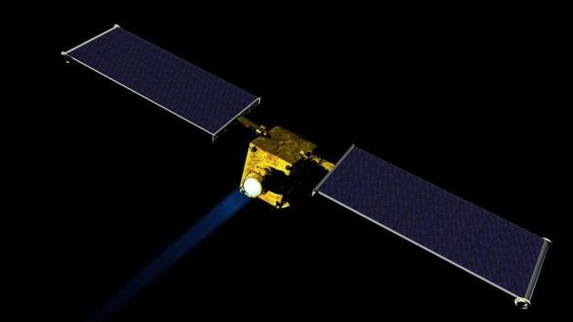 Artist concept of NASA's Double Asteroid Redirection Test (DART) spacecraft. DART, which is moving to preliminary design phase, would be NASA's first mission to demonstrate an asteroid deflection technique for planetary defence.(NASA)