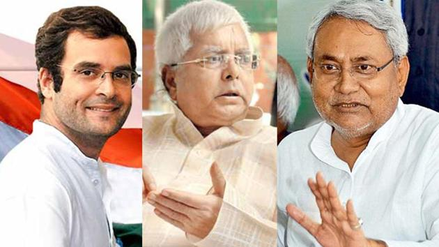 The CBI raids on Lalu Prasad (centre) attracted Congress support for him, as CM Nitish Kumar remained silent.(File photo)